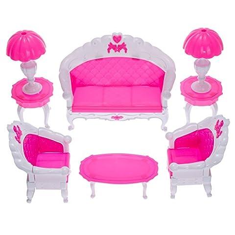6 Stk Kunststoff Mini-Miniatur Wohnzimmer Möbel Satz für Barbies -