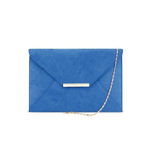 DSUK 1943 Cartera de Mano Azul, Bolso de noche del embrague del sobre de las señoras Bolsa de cadena desprendible Prom de la boda Imán gancho Faux Suede Handbag Monedero bolsillos azul