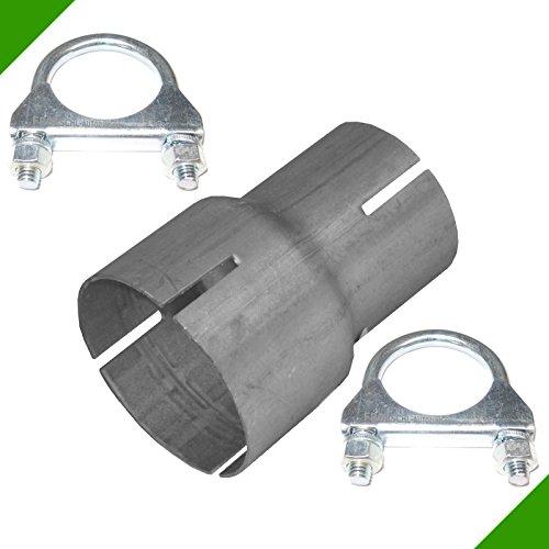 Rohrverbinder Reduzierstück Rohr von 50mm auf 65mm Auspuff Adapter inkl. 2 Schellen Klemmstück Reduzierverbinder Rohrreduzierung Reduktion Abgasanlage Verbindungsstück Reduzierung