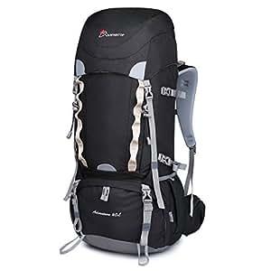 MOUNTAINTOP 60L Rucksack Trekking wasserdicht Wandern Bergsteigen Camping Bergsteigen Reise 76x 36x 26cm/81X32x23cm, Nero II
