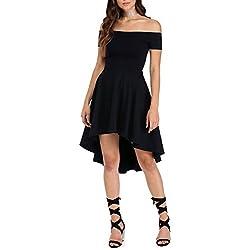 Twippo Vestidos de Fiesta Corto Largo Skater Moderno Sin Hombros Negro 40