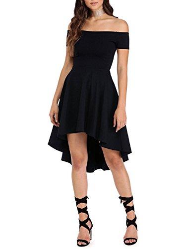 Vestidos de fiesta Corto Largo Skater Moderno Sin Hombros Negro 40