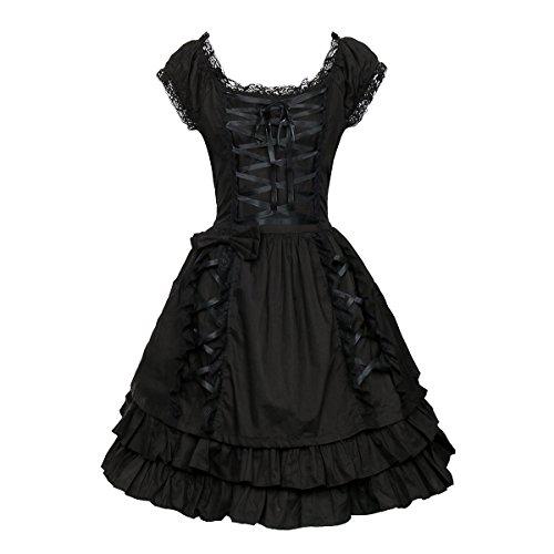 (Nofonda Frauen Klassisch Schwarz Gothic Kostüm Cosplay Lolita Kostüm Abendkleid Layered Lace-Up Kurzarm Kleid (M))