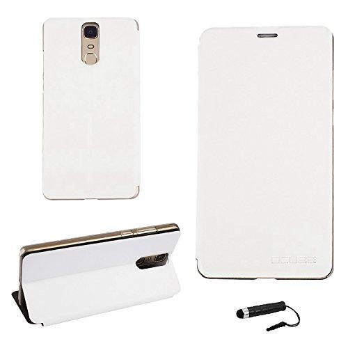 Tasche für Doogee Y6 MAX Hülle, Ycloud PU Ledertasche Metal Smartphone Flip Cover Case Handyhülle mit Stand Function Weiß
