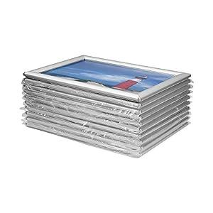 VKF Renzel GmbH Vorteilspack 10 x Bilderrahmen Klapprahmen aus Aluminium/Kunststoff im Set – DIN A4 – Geschenkidee für Familien – für Portraitsammlung – Fanposter – UVM.