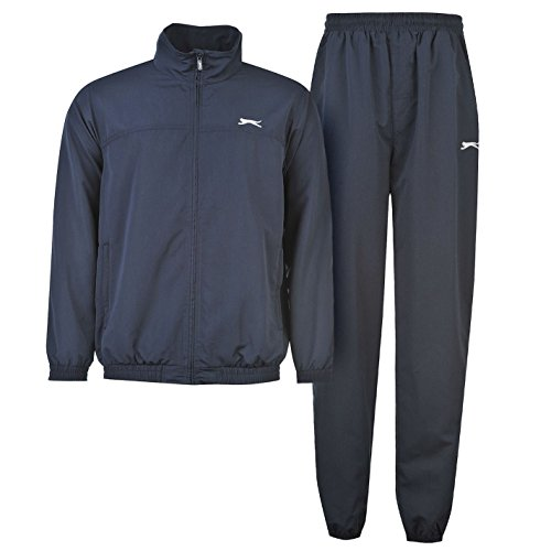 Slazenger para hombre woven Suit Chándal manga larga cremallera Top y pantalones, azul marino, XL