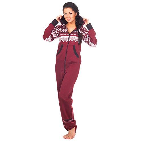 Loomiloo® Jumpsuit Freizeitanzug Pyjama Norweger Muster Weinrot