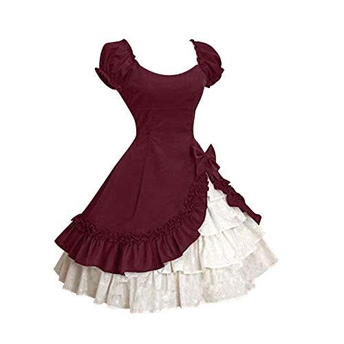 Ears Damen Kleid Mode Retro Casual Dress faul Wind schlank abnehmen Rock große größe lose Kurzarm Herbst und Winter mädchen Prinzessin Kleid Kurzarm Lolita Bow Ruffle Princess Dress Court