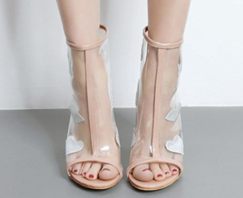 YCMDM Femmes Transparent Cool Boots Fish Mouth Avec Les Chaussures Ultra-High-Heeled Avec Sandales Bare Boots apricot