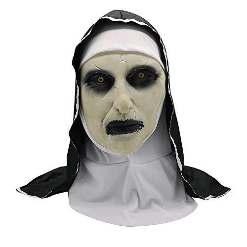 QWhing Festival-Maske Halloween-Nonnenmaske-Horror-Scary-Horror-weibliches Gesicht-Gesicht-ordentliche Partei, weiß Kostüm ()