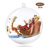 amzdeal 8 cm Bolas de Navidad Transparentes - 12 Piezas Colgante Deco Navideño Divisible y Rellenable, Bolas Transparentes Plastico Adornos para Árbols de Navidad, Tiendas, Decoración de Bodas, etc.