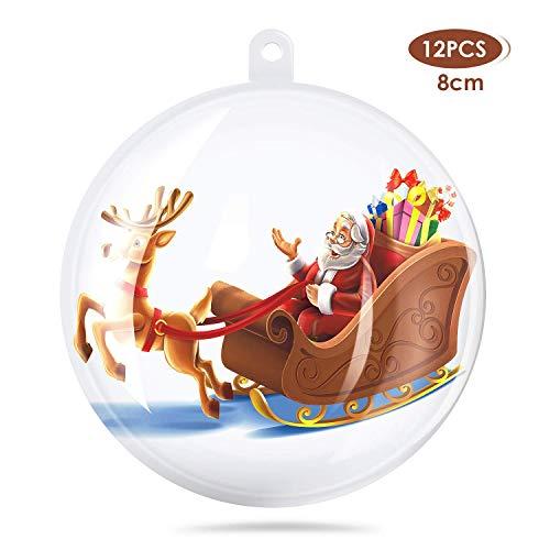 amzdeal 8cm Palla Trasparente Natale Plastica - Decorazione Fai da Te, Pallina Trasparente da Riempire Adatto per Natale Decorativo, Matrimonio Decorativo e la Stanza Decorativa 12 Pezzi