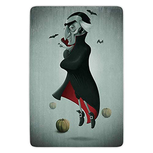 XIAOYI Bathroom Bath Rug Kitchen Floor Mat Carpet,Vampire,Creepy Halloween Night Pumpkins and Old Vampire with Cape Flying Bats,Black Almond Green Red,Flannel Microfiber Non-Slip Soft Absorbent