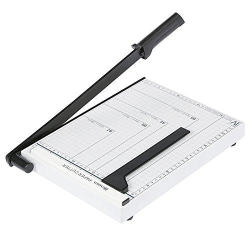 Papierschneider Papierschneidemaschine Fotoschneider Hebelschneider Schneidegerät Schrottmaschineider (A4, Weiß)