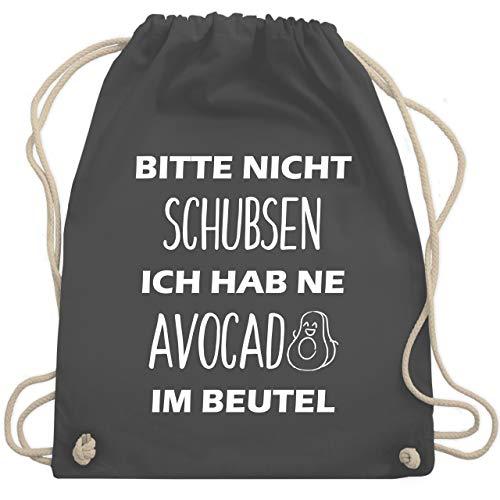 Shirtracer Festival Turnbeutel - Bitte nicht schubsen ich hab ne Avocado im Beutel - Unisize - Dunkelgrau - WM110 - Turnbeutel und Stoffbeutel aus Bio-Baumwolle