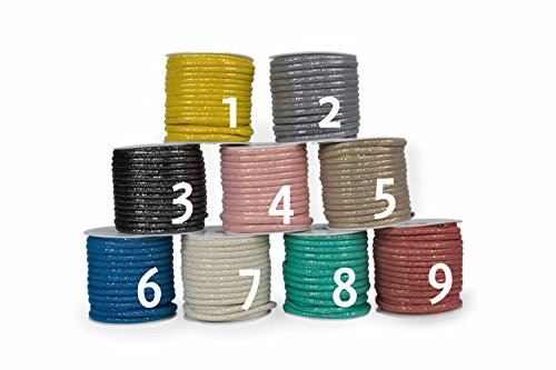 Modische Glitzer Kordel in vielen Farben zum Aussuchen. Für Armbänder, Colliers zur Dekoration oder als modisches Accessoire. Zum Basteln von Halsketten oder Modeschmuck (beige - 4)