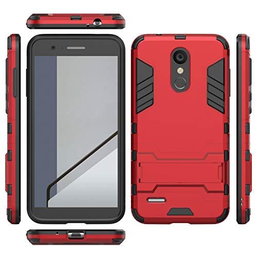 tinyue® Handyhülle für LG K9, Hülle 2 in 1 Material Harte Schwer doppelte kratzfester Handyfall im Freienhandyfall Iron Man Rüstung mit Kickstand Case, Rot -