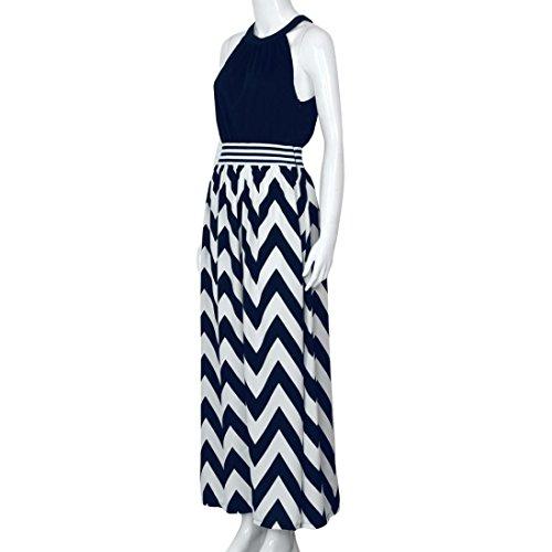 Xinan Damen Sommer Lange Maxi Beach Kleider Sundress Blau
