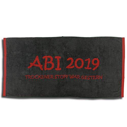 dlaken Strandtuch ABI 2019 Anthrazit Kaminrot Abitur Geschenk 80x160 cm ()