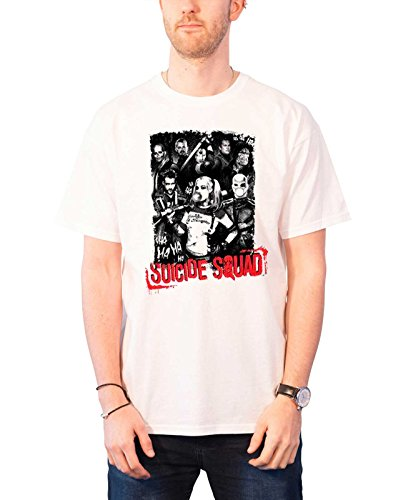 Suicide Squad T Shirt Squad Pose Harley Quinn Joker Official Mens White