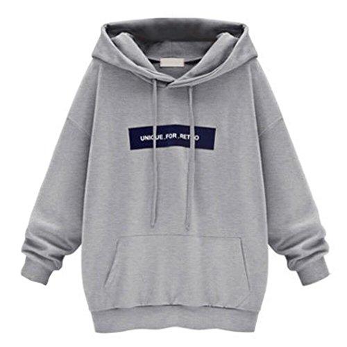 Hoodie Sweatshirt Damen Sunday Langarm Freizeit Eifach Kapuzenpullover Tops Bluse (6XL, Grau)