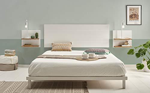 Hogar24-Cabecero Madera Blanca + 2 mesitas estantes