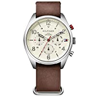 Tommy Hilfiger Men'S Parchment Dial Brown Leather Watch - 1791188