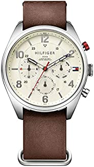 Tommy Hilfiger Men'S Parchment Dial Brown Leather Watch - 179