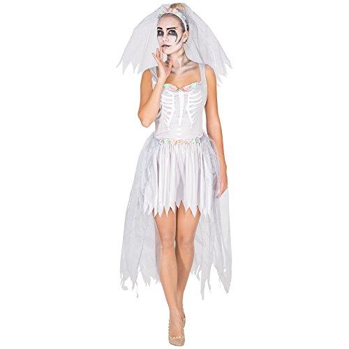 Für Erwachsene Skelett Kostüme Zombie (Aufwendiges Zombie Braut Skelett Brautkleid Damen Kostüm inkl. Schleier mit Tüll und Blumen (L | Nr.)