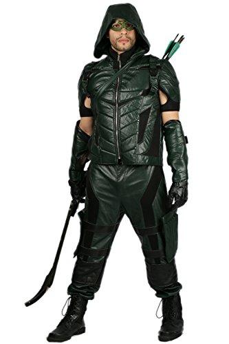 Pandacos Arrow Kostüm Deluxe Cosplay Costume 8er Set Lederkostüm Unisex aus Leder Grün Oliver Queen Kostüm Film Zubehör für Karneval und Fasching - Green Arrow Kostüm Für Kind