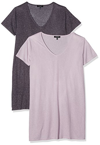 New Look Textured Split Boyfriend, T-Shirt Femme Purple (Purple Pattern)