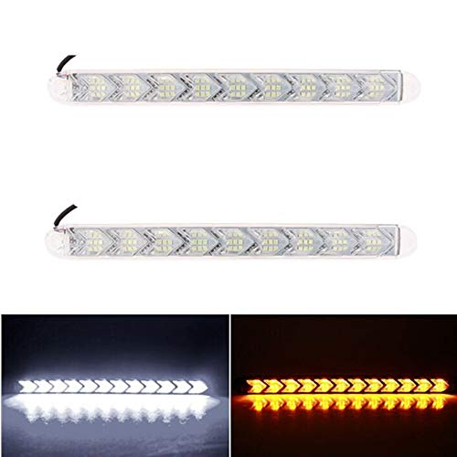 LanLan Phares Moto 2pcs Voiture Flexible DRL Switchback LED lumière de Bande Phare Arrowhead Clignotant Clignotant Lampe étanche White Light + Yellow Light