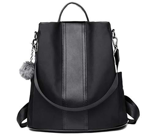 GWEI】Zaino Donna Borse a zainetto Borse a spalla in Nylon Zaino alla moda con tracolla Casuale Daypack Borse a mano Backpack Daypack per Scuola Viaggio lavoro (nero)