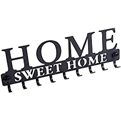 Appendichiavi da parete Stilemo - Risparmia tempo con il portachiavi da muro e appendiabiti Home Sweet Home - Portachiavi da parete nero satinato - Appendiabiti a parete - 9 ganci - 25 x 8.5 cm