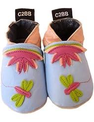 C2BB - Chaussons bébé en cuir souple fille   Nénuphar
