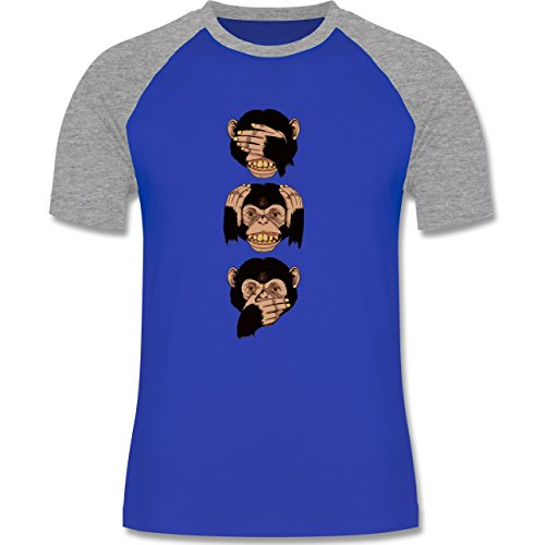 Statement Shirts - Drei Affen - Sanzaru - zweifarbiges Baseballshirt für Männer Royalblau/Grau meliert