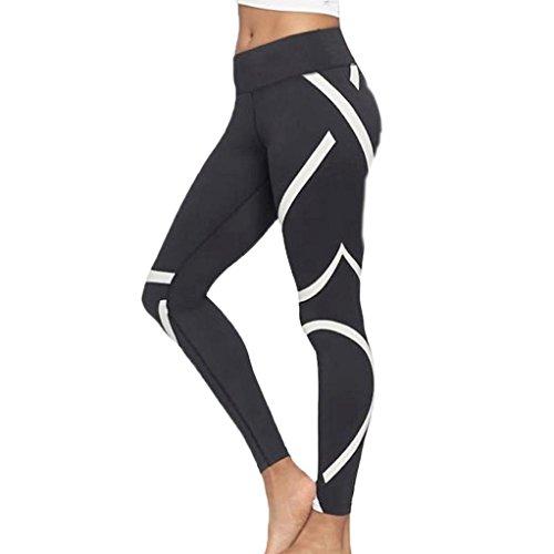 Zarupeng Damen Stretch Yogahose Dünne Fitness Leggings Lange Sporthosen Sweathose (S, Schwarz) (Überprüfen Messenger)