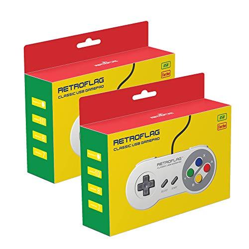2 STÜCKE Retroflag Klassische USB Gamepads Verdrahtete Controller Joysticks für Retroflag SuperPi Fall & NESPI Fall, Kompatibel mit Raspberry Pi, Windows, Schalter, macOS (Grau) …