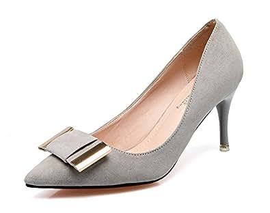 Aisun Damen Elegant Schleifen Metall Suede Low Cut Spitz Stiletto Pumps Grau 36 EU YLJ3N