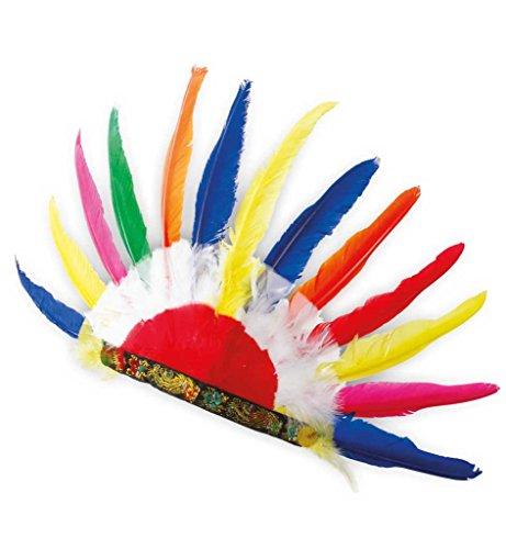 Indianer Kopfschmuck Indianer Häuptling Stammesältester Apache Wilder Westen Western Federschmuck Federband Große Feder AccessoireKarneval, (Apache Kopfschmuck)