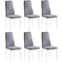 Juego de 6 sillas Yuri, tapizadas con tela gris, patas color blanco, 97 x 40 x 40 cm