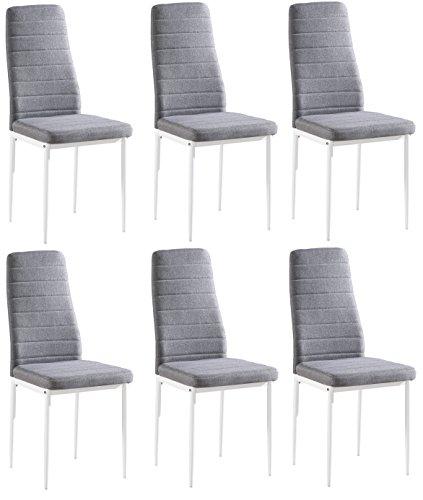 Set di 6 sedie Yuri, Rivestimento in Stoffa Grigia, Gambe Colore Bianco, 97 x 40 x 40 cm,