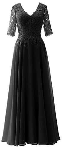 MACloth Elegant Half Sleeves Mother of Bride Dress V Neck Evening Formal Gown Black