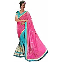 Sushil Mane Women's Polyester Solid Saree with Blouse Piece (Blue and Pink)