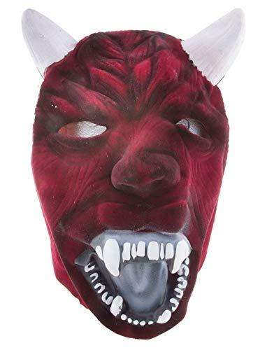 Kostüm Devil Hunde - Luxuspiraten - Kostüm Accessoires Zubehör Latex Horror Maske Hund Teufel Alien mit Hörnern, Mask Devil Dog, perfekt für Halloween Karneval und Fasching, Rot