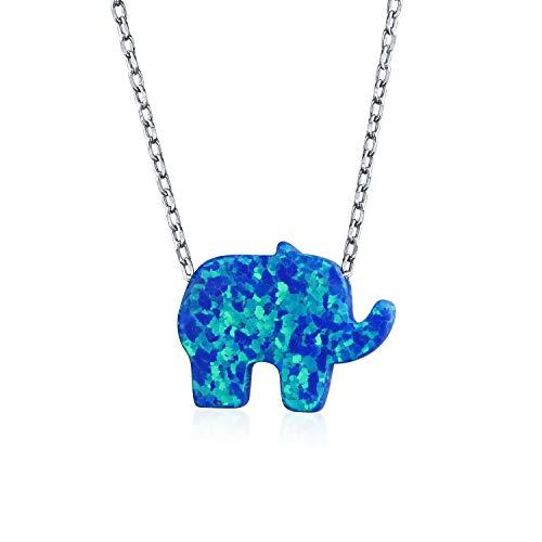 Creado Blue Opal Collar de elefantes para la mujer colgante de plata...