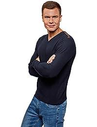Allegra K Herren T-shirt V-Ausschnitt V-Neck langarm Freizeit blau EU48//US38