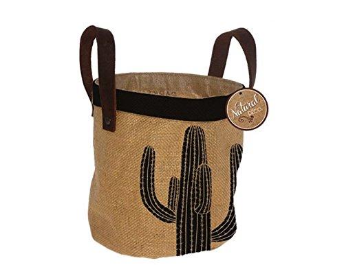 Réf5O02 DECO.02 - Panier Cache-Pot Motif Cactus - Toile de Jute Fibre Naturelle - Décoration Boho Bohème Chic