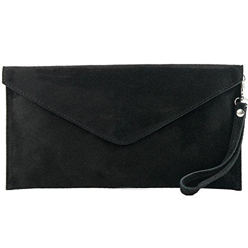 modamoda de - T106 - ital Clutch/Abendtasche aus Wildleder, Farbe:Schwarz -