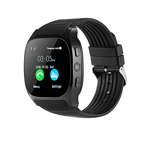LCLrute Montre Connectée, Bluetooth Smart Watch avec Appareil Photo&Nouveau T8 BT3.0 Smart Watch Support SIM Et Appareil Photo TFcard pour Android pour iPhone (Noir)